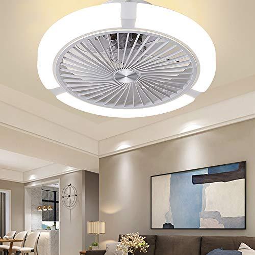 Deckenventilator Mit Fernbedienung Dimmbarer LED Fan Deckenleuchte Innenbeleuchtung 48W Fan Deckenlamp 3 Geschwindigkeiten Und Timer 7 Ventilatorflügel Deckenventilatoren Mit Beleuchtung Φ45,White
