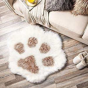 Ashler Soft Fluffy Faux Fur Area Rug Cat Paw Faux Sheepskin Fuzzy Kids Rug 2.8 X 3.2 Feet Light Coffee Indoor Decorative Rugs