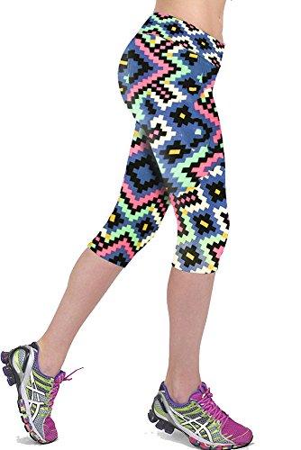 2016 Workout Capri Legging Yoga Pants Running Tights(Prismatic,M)