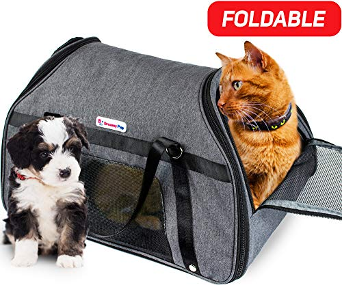 Dreamy Pup Premium Airline Approved Soft-Sided Under Seat Pet Carrier - Best for Small Dogs Cats Foldable - TSA Pets Carrier Bag - in-Cabin Mesh Air Travel Carriers (Gray)