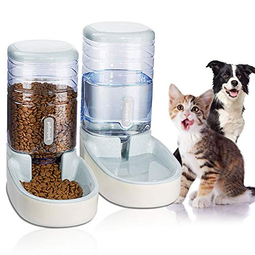 UniqueFit Pets Cats Dogs Automatic Waterer and Food Feeder 3.8 L with 1 Water Dispenser and 1 Pet Automatic Feeder (Light Gray)