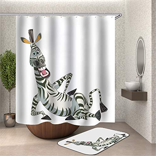 Chickwin Duschvorhang mit 12 Ringe, Polyestergewebe Wasserdicht Anti-Schimmel Maschinenwaschbar Duschvorhang Bad Vorhang für Badewanne Duschen Badezimmer Dekorative (Lustiges Zebra,180x200cm)