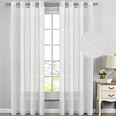 H.VERSAILTEX Extra Long Curtains Window Treatments for Living Room/Rich Linen Sheer Curtain Panels and Drapes,Classic Nickel Grommet,52 by 108 Inch,Set of 2