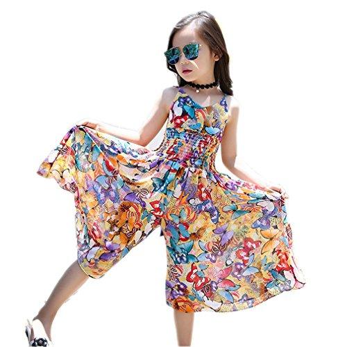 Kauftree Mädchen Kleid Overall Tops Strandkleid Bohemian Sommer Chiffon (140)