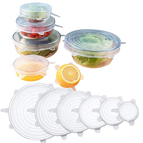 Silicone Stretch Lids,stretch and seal Silicone Bowl Covers For Food Storage and Fresh Keeping,Reusable Durable Miracle Lids-Fit Various Sizes and Shapes of Containers,Dishwasher Safe-6pack (White)
