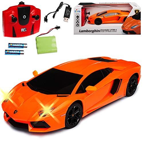 Siva Lamborgihini Aventador LP700-4 Coupe Orange 2,4 GHz RC Funkauto mit Beleuchtung und Akkupack 1/24 Modell Auto mit individiuellem Wunschkennzeichen