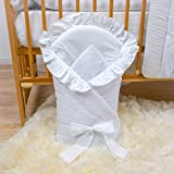 Newborn Baby Soft Swaddle Wrap 0-3 Months/Swaddling Blanket/Duvet 80x80cm - Broderie Anglaise White