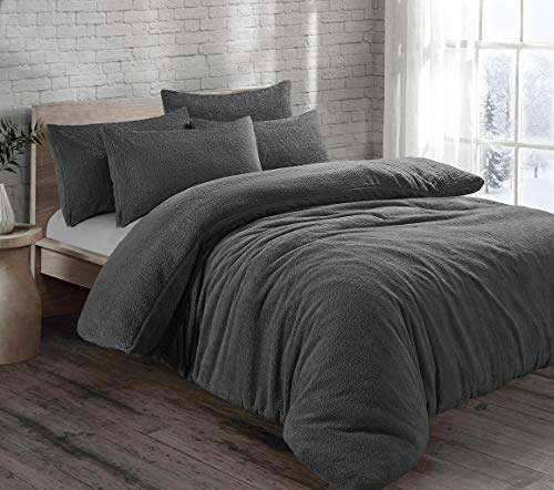 HOMES-LINEN Teddy Bear Fleece Thermal Warm Cosy Soft Fur Duvet Cover Set With Pillow Cases (Charcoal, Double)