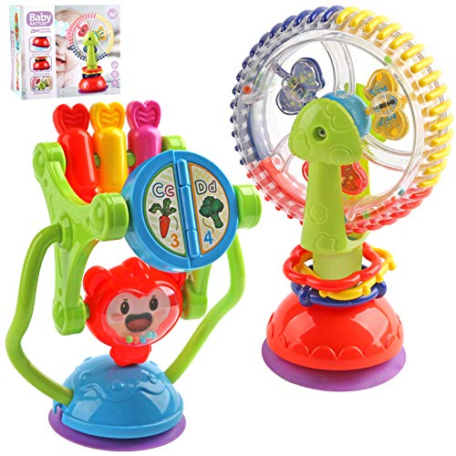 Baby Rattles - Baby Toys 6 to 12 Months, Infant High Chair Toys w/ Suction Cup, Baby Rattles Activity Ball, Shaker, Grab & Spin, Crawling Educational Toys for 3, 6, 9, 12 Months Boys, Girls Newborn