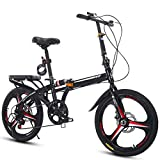 Compact Folding Mountain Bike, 6 Speed Hinge Folding Bicycle 20-Inch/Medium, Male and Female