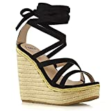 ESSEX GLAM Womens Lace Up Sandals Ladies Black Faux Suede Wedge Heel Platform Strappy Espadrilles Shoes 8 B(M) US