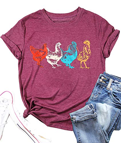 Chicken Shirt for Women Farm Life Tees Farm Girl T Shirt Funny Chicken Graphic T-Shirt Casual Short Sleeve Tops (Purple Red, Medium)