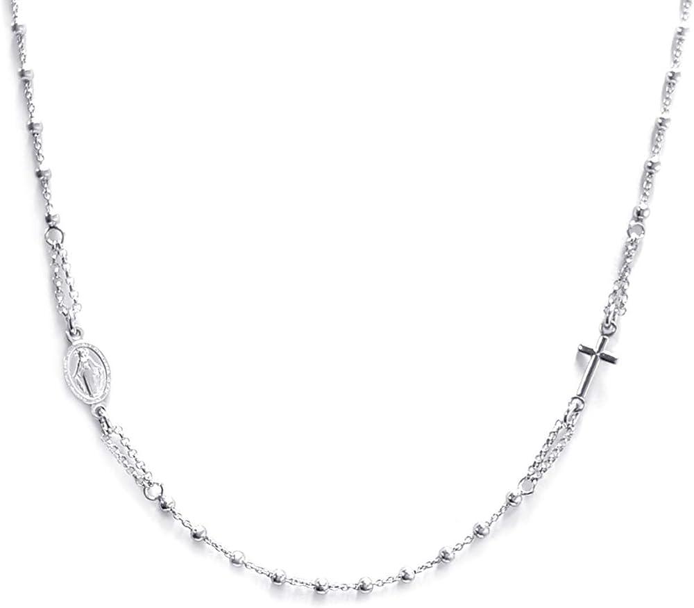 Linea italia gioielli collana a rosario per donna in argento 925 con croce e medaglietta