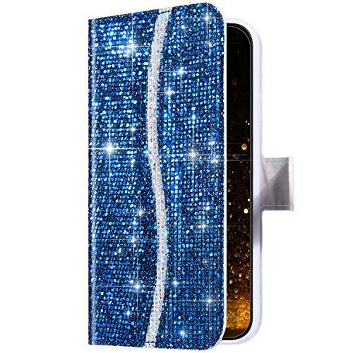 Uposao Kompatibel mit Huawei P40 Lite Handyhülle Leder Schutzhülle Glitzer Bling Glänzend Strass Diamant Klapphülle Flip Case Brieftasche Hülle Bookstyle Tasche Magnet Kartenfächer,Blau
