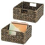 mDesign Juego de 2 cestas organizadoras – Cajas de almacenaje plegables de...