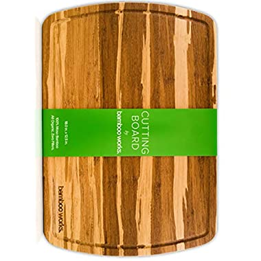 Professional Bamboo Wood Cutting Board and Cheese Board – Tiger Stripe – Organic and Antimicrobial – Extra Large 18 by 12.5 Inch Wood Serving Tray with Drip Groove by Bamboo Works
