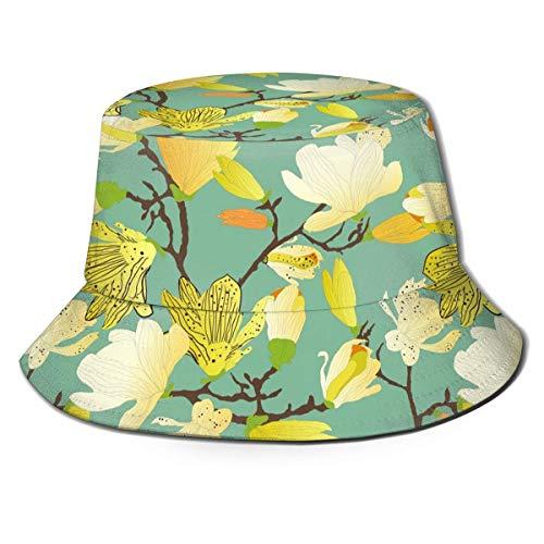 Sombreros de Cubo con Estampado de Flores Amarillas, Gorras de Pescador de ala Ancha para protección UV