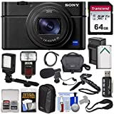 Sony Cyber-Shot DSC-RX100 VII 4K Wi-Fi Digital Camera with 64GB Card + Battery & Charger + Cases + Grip/Tripod + Flash + Video Light + Mic Kit