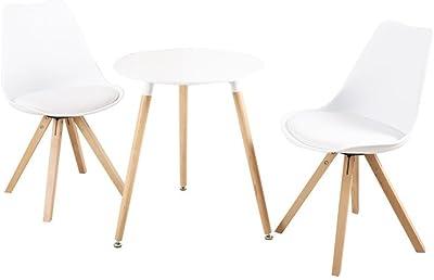 Zons Table de Cuisine, Salon D60cm / Table tête à tête/Table Salle à Manger H69cm (Blanc)