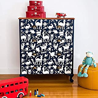 Otomi Folk Art Mexican Pattern Painted Furniture Design Stencil