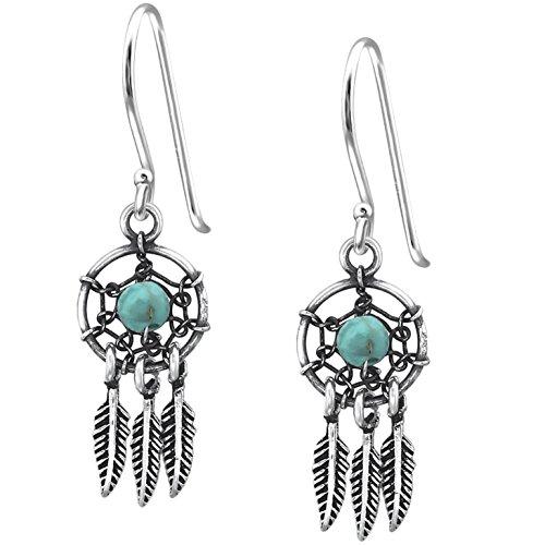 EYS JEWELRY Ohrhänger Damen Traumfänger 925 Sterling Silber oxidiert Türkis Damen-Ohrringe