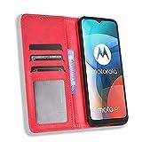 MingMing Funda para Motorola Moto E7, Funda Protector con Cáscara de TPU, Soporte Plegable, Ranura para Tarjeta, Funda Tapa Libro Flip Phone Cover Case para Motorola Moto E7, Rojo