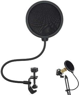 kelebin Double Layer Studio Microphone Wind Screen Cover Adjustable Gooseneck Shield Filter