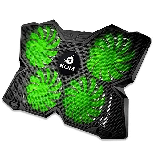 KLIM Wind Laptop Cooling Pad - Support 11 to 19 Inches Laptops, PS4 - [ 4 Fans ] - Light, Quiet Rapid Cooling Action - Ergonomic Ventilated Support - Gamer USB Slim Portable Gaming Stand - Green