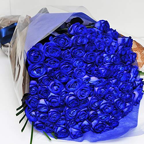 本数をお選びください 青いバラの花束 5本〜100本 神秘的なブルーローズ 奇跡の花 エーデルワイス 花工房 (100)