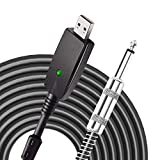 NKNC USB Guitar Cable,Guitar Bass to USB Link Connection Cable Adapter,Replacement Professional Guitar to PC USB Link Recording Cable Lead Adaptor 2.8M/9.2FT