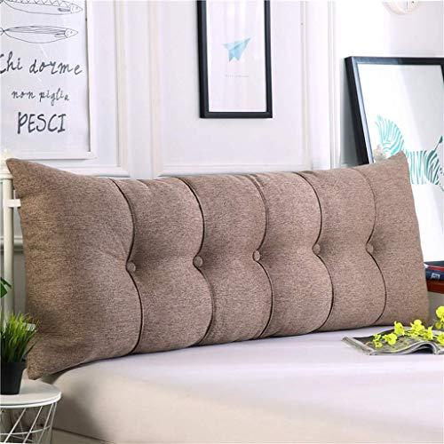 MWPO Doppelter Kopfkissenbezug, gepolsterte Baumwollmappe, Lesekissen im Bett, Multifunktionssofa für das Büro zu Hause, waschbar in 5 Farben, Größen 6 (Farbe: Braun Größe: 200 cm)