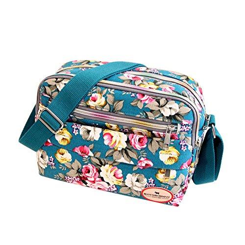 Goddessvan Fashion Women Floral Canvas Crossbody Bag Shoulder Bag Messenger Bag Cosmetic Bag Sky Blue