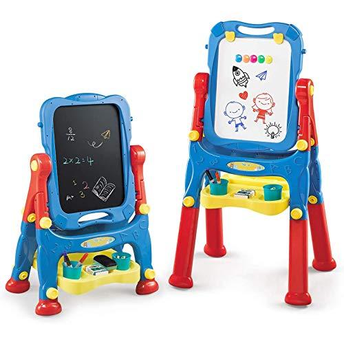 NextX Pizarra Magnetica Infantil de Altura Ajustable de Doble Cara - Tablero de Dibujo de Tablero y Pizarra de Borrado en Seco Aprendizaje de Juguetes Educativos Caballete para Niños …