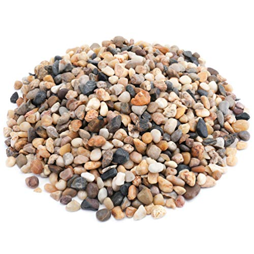WUWEOT 6 Pounds Decorative Small Pebbles, Natural Polished Gravel Mixed Color Stones for Fresh Water Fish Animal Plant Aquariums, Landscaping, Home Decor etc (0.4'-0.8')