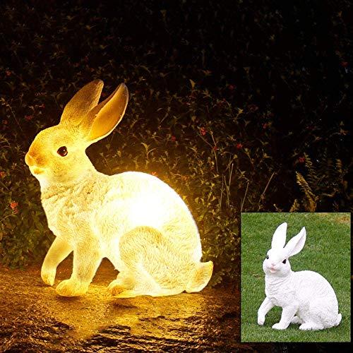 Mooie led-decoratielampen, warmwit licht, bolard, 3000 K, 5 W, buitenlamp, kunsthars, sokkellamp, wit konijn design, tuinverlichting, staande lamp voor gazebo kamer, gazon, omheining chemicaliën