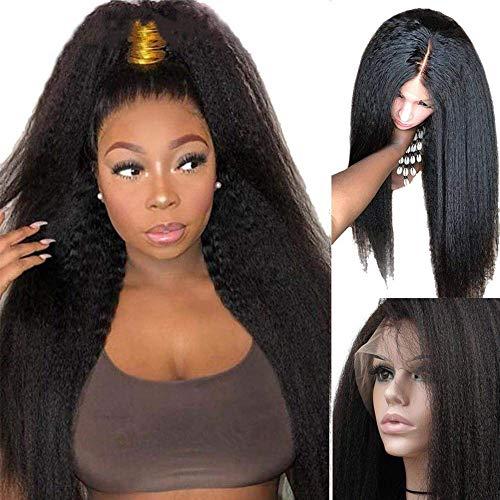 BLISSHAIR Cabello brasileño rizado Peluca de pelo brasileña Sin cola Yaki italiano Pelucas delanteras del cordón del pelo humano de la Virgen del con el pelo del bebé para mujeres negras (14 pulgadas)