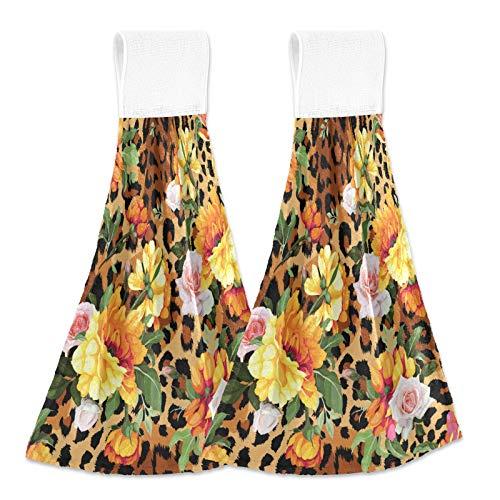 Oarencol Toalla de cocina con diseño de leopardo, color amarillo y rosa, con diseño floral, absorbe la piel de animal, para colgar, con lazo, para baño, 2 unidades