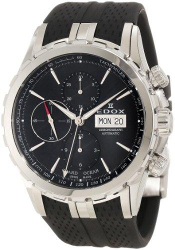 Edox Men's 01113 3 NIN Grand Ocean Automatic Chronograph Black Dial Rubber Watch