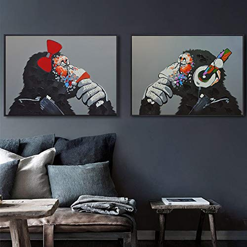 UIOLK Decoración de la habitación Auriculares de Mono Música Moda Animal Cartel Divertido Impresión de Arte Abstracto Decoración de Sala de Estar Moderna Pintura
