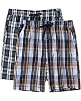 JINSHI Men's Stretch Pajama Shorts 100% Cotton Sleep Lounge Pajama Short with Pocket 2-Pack(M,Grey Plaid/Brown Plaid)