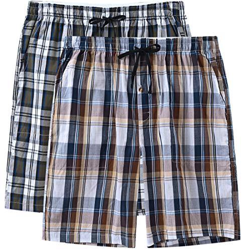 MoFiz - Pantalones cortos de pijama para hombre, algodón, a cuadros 2 Pack-b Small