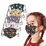 5 pcs Kinder Mundschutz Multifunktionstuch Cartoon Druck Mäske Animal Print Atmungsaktive Baumwolle Stoffmaske Waschbar Mund-Nasenschutz Staubdichter Bandana Halstuch Jungen Mädchen (A)