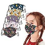 CICIYONER 5 Stück Kinder-Mundschutz mit motiv Cartoon Druck,Waschbar Wiederverwendbar,Baumwolle Stoff Atmungsaktiv,Gesichtsschutz Halstuch Für Jungen Mädchen (G)
