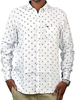 Darien Range White Anchor Printed 100% Cotton Slim Fit Casual Shirt
