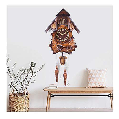 &Los relojes de pared Reloj de cuco péndulo del reloj de pared con pilas del sitio de madera maciza de no hacer tictac del Bosque casa Salón decoración del dormitorio Aves cabrito de la campana &decor