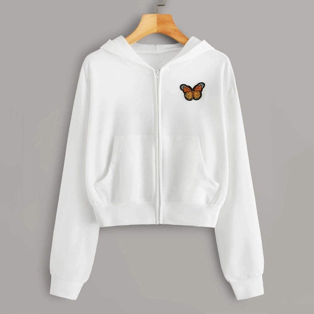 Long Sleeve Crop Sweatshirt,Women's Casual Workout Crop Tops Jacket Zip Up Hoodies Pullover Sweatshirts with Pocket