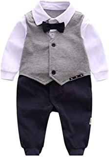 Fairy Baby Newborn Baby Boy Gentleman Outfit Onesie Formal Tuxedo Romper Suit
