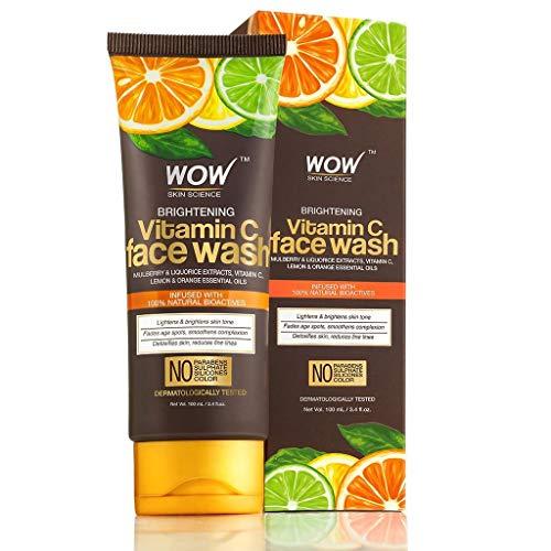 WOW Vitamin C Face Wash - Deep Cleanser For Dry, Oily, Sensitive Skin & Acne Pore Minimizer, Men, Women & Teen - Exfoliating Daily Facial Wash - Moisturizer Gel Scrub - Sulfate, Paraben Free - 100ml