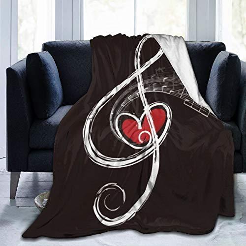 Music Symbols Manta cálida de microforro polar para sofá de viaje para mujeres y hombres, regalo de 50 x 40 pulgadas
