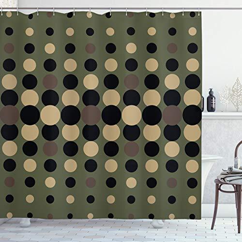 ABAKUHAUS olivgrün Duschvorhang, Halbton-Kreise, mit 12 Ringe Set Wasserdicht Stielvoll Modern Farbfest & Schimmel Resistent, 175x240 cm, Mehrfarbig